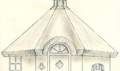 Tegning til pavillion udført af Hornbæk Håndværk og Bådeservice